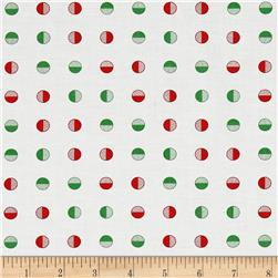 Moda Red Dot Green Dash Half Snowballs Multi