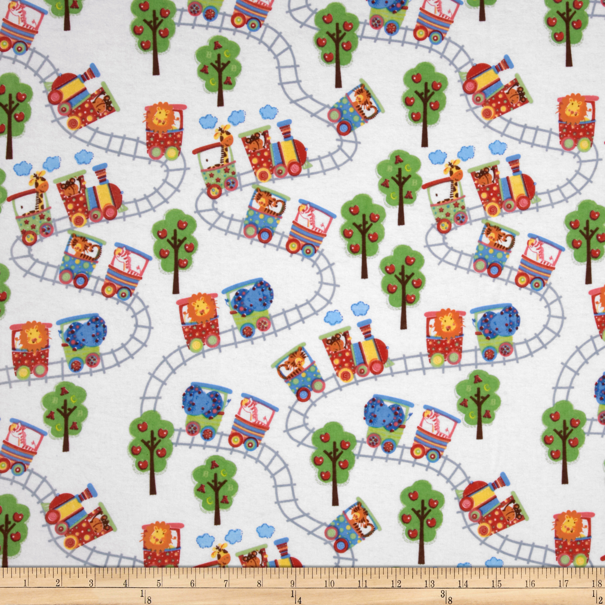Comfy Flannel Zoo Train White/Primary Fabric