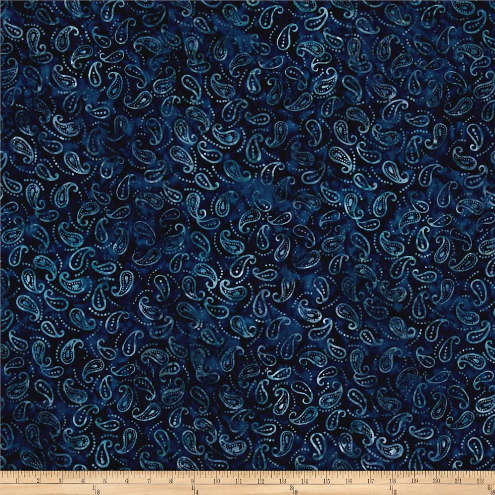 wilmington batiks mini paisley navy discount designer fabric. Black Bedroom Furniture Sets. Home Design Ideas