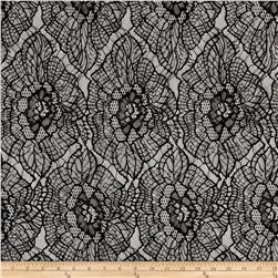 Stretch Lace Abstract Floral Black