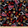 Timeless Treasures Firefighter Collage Black