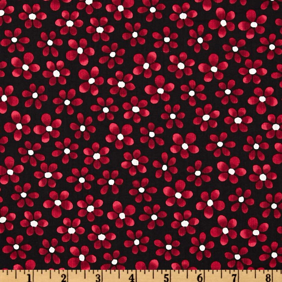Quilting Treasures Canvas Small Floral Black