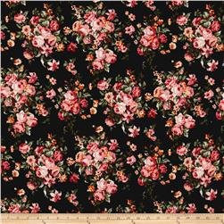 ITY Brushed Jersey Knit Black Ground Coral Floral Bouquet