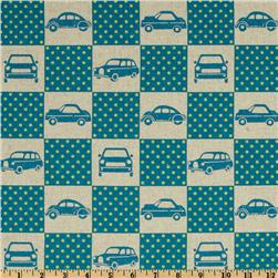 Echino Cotton/Linen Blend Canvas Ni-Co Car Box Teal