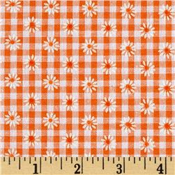 Woven 1/8'' Daisy Gingham Orange Fabric