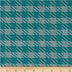 Lightweight Sweater Knit Houndstooth Turquoise