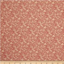 Moda Under the Mistletoe Holly Damask Linen/Crimson