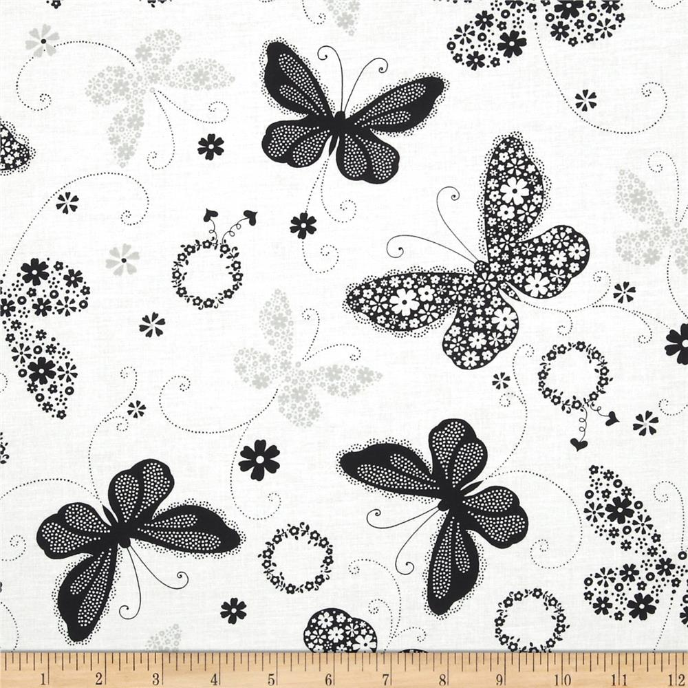 Cleo Birds & Butterfly Butterflies Black/White