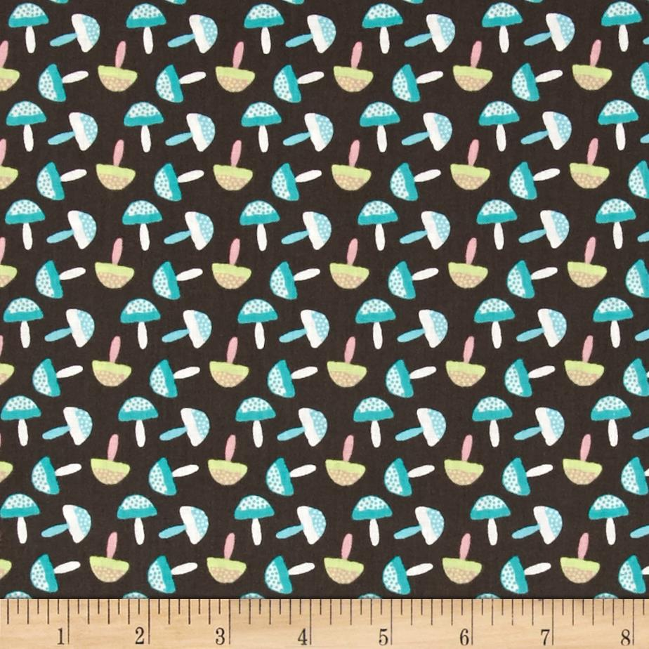 Fabric Freedom Woodland Animals Little Mushrooms Brown