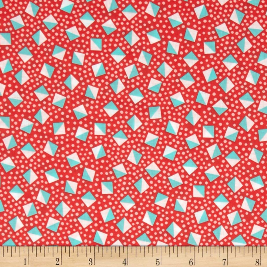 Kaufman London Calling Lawn Diamond Dot Coral