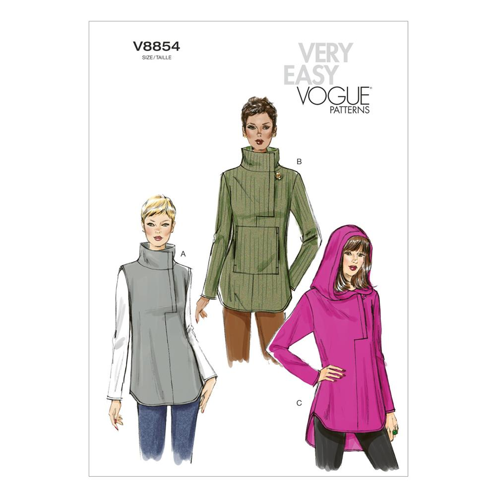 Vogue Misses' Tunic Pattern V8854 Size 0Y0