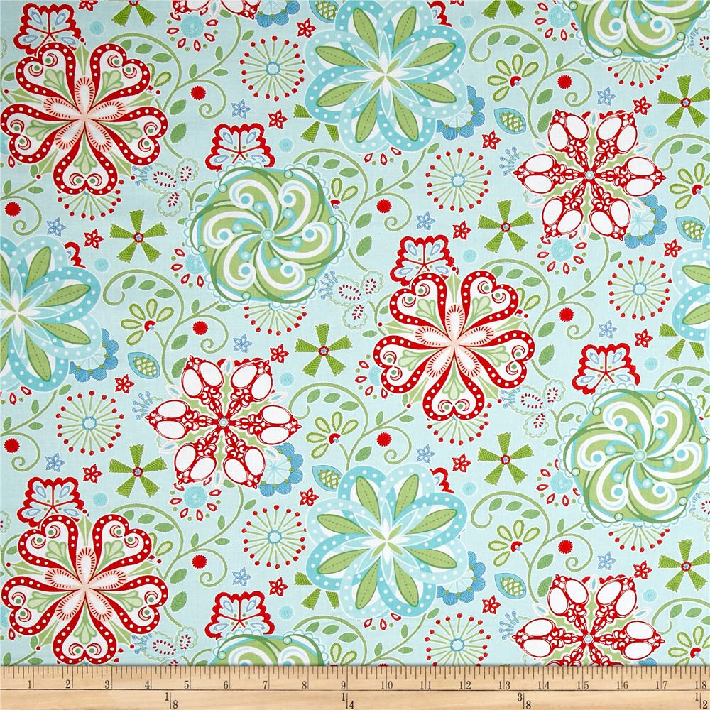 Sewing room medallions aqua discount designer fabric for Cheap sewing fabric