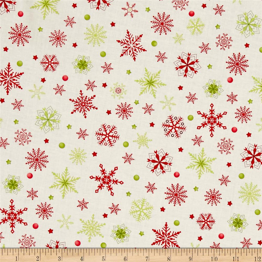 Purely Christmas Red & Green Snowflakes Fabric By The Yard