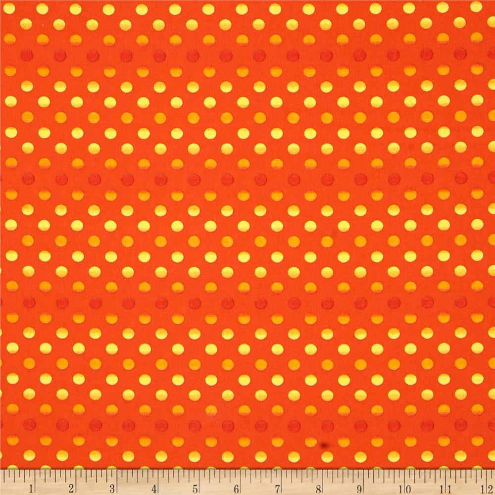 Moda Midnight Masquerade Fading Polka Dots Bittersweet Orange
