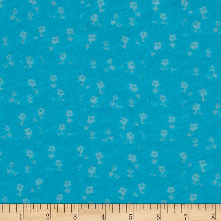 Burnout Jersey Knit Small Flowers Aqua