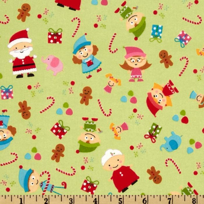 Santa's Workshop Flannel Elves Green
