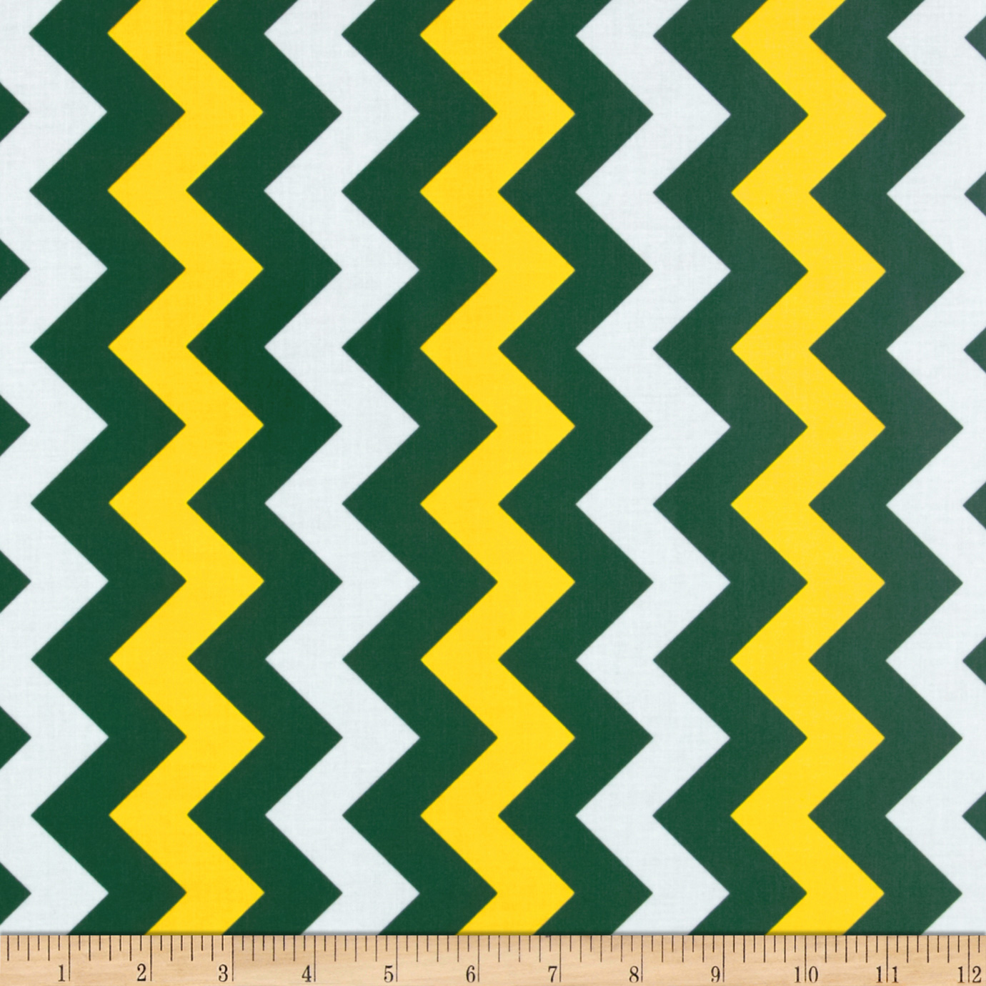 Riley Blake Laminate Medium Chevron Green/Gold Fabric