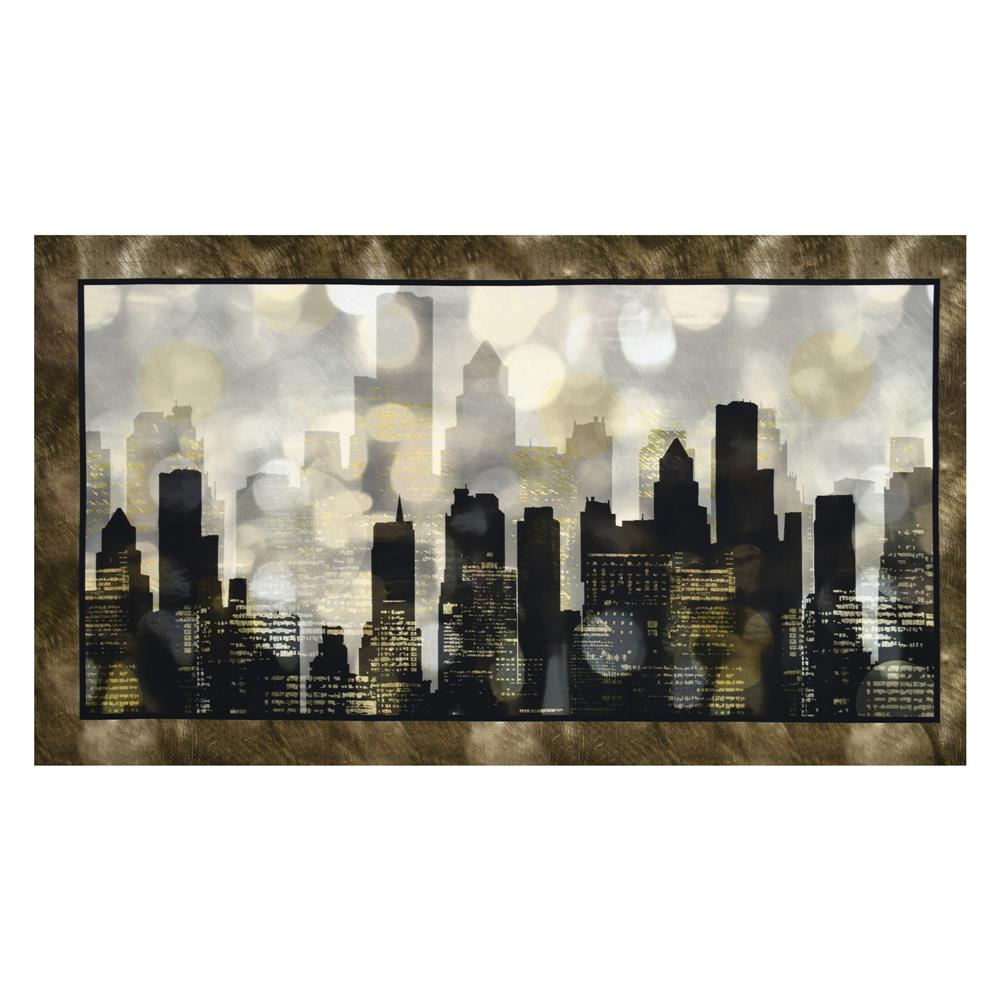 Artworks Digital City Lights 24'' Panel Black Fabric