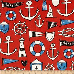 Kokka Trefle Canvas Anchors & Nautical Red