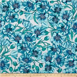Robert Kaufman In the Bloom Large Flowers Turquoise