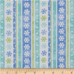 Let it Snow Flannel Stripes & Snowflakes Blue/Green/White