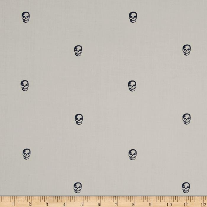 Kaufman Cambridge Cotton Lawn Mini Print Skull Grey