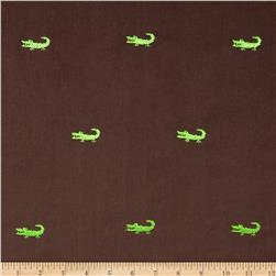 Embroidered 21 Wale Corduroy Alligator Hazelnut/Green