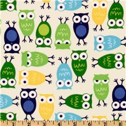 Urban Zoologie Owls Blue Fabric