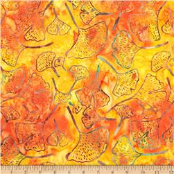Timeless Treasures Tonga Batik Punch Gingko Leaves Sunset