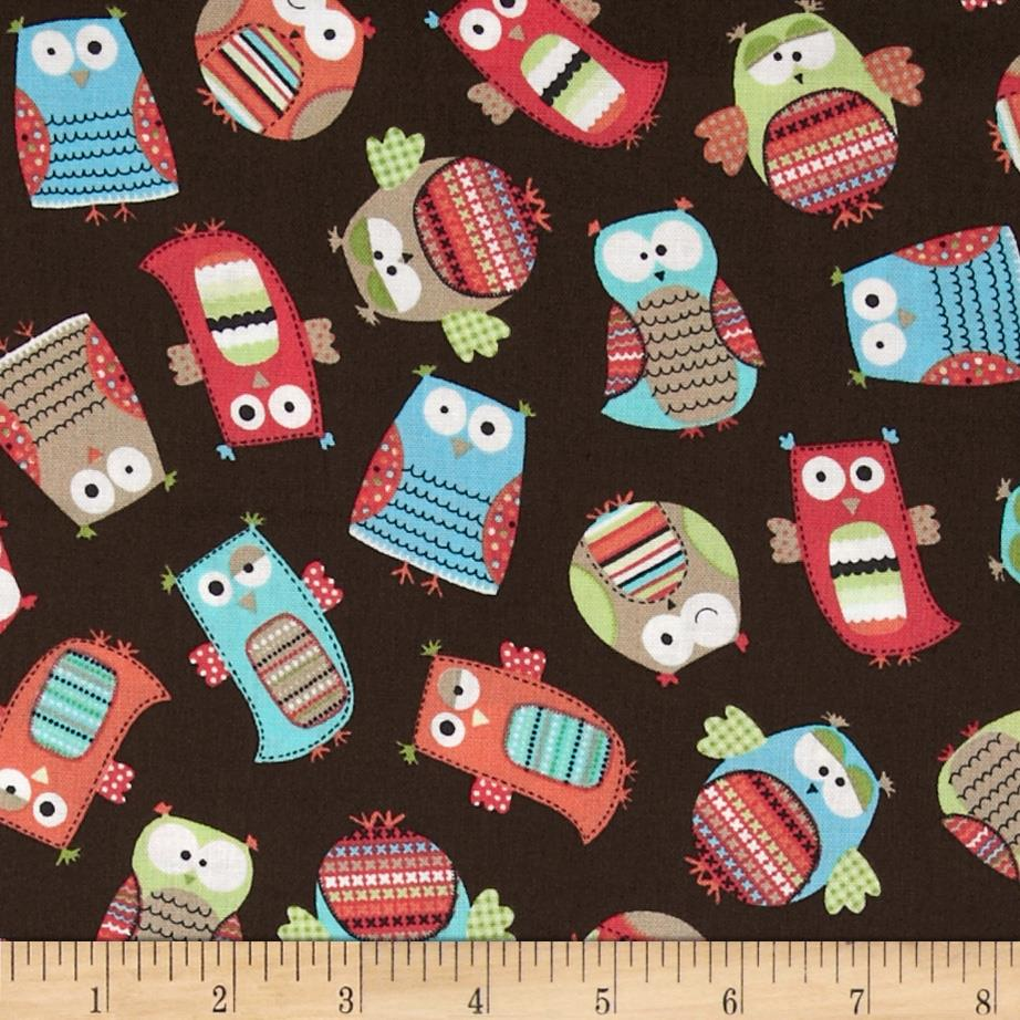 Timeless Treasures Hootenanny Organic Owls Brown