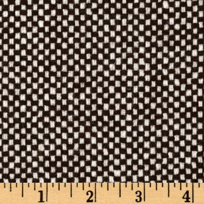 Wool Blend Coating Basketweave Brown/White