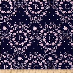 Michael Miller Cynthia Rowley Oh Baby ABC Scroll Pink