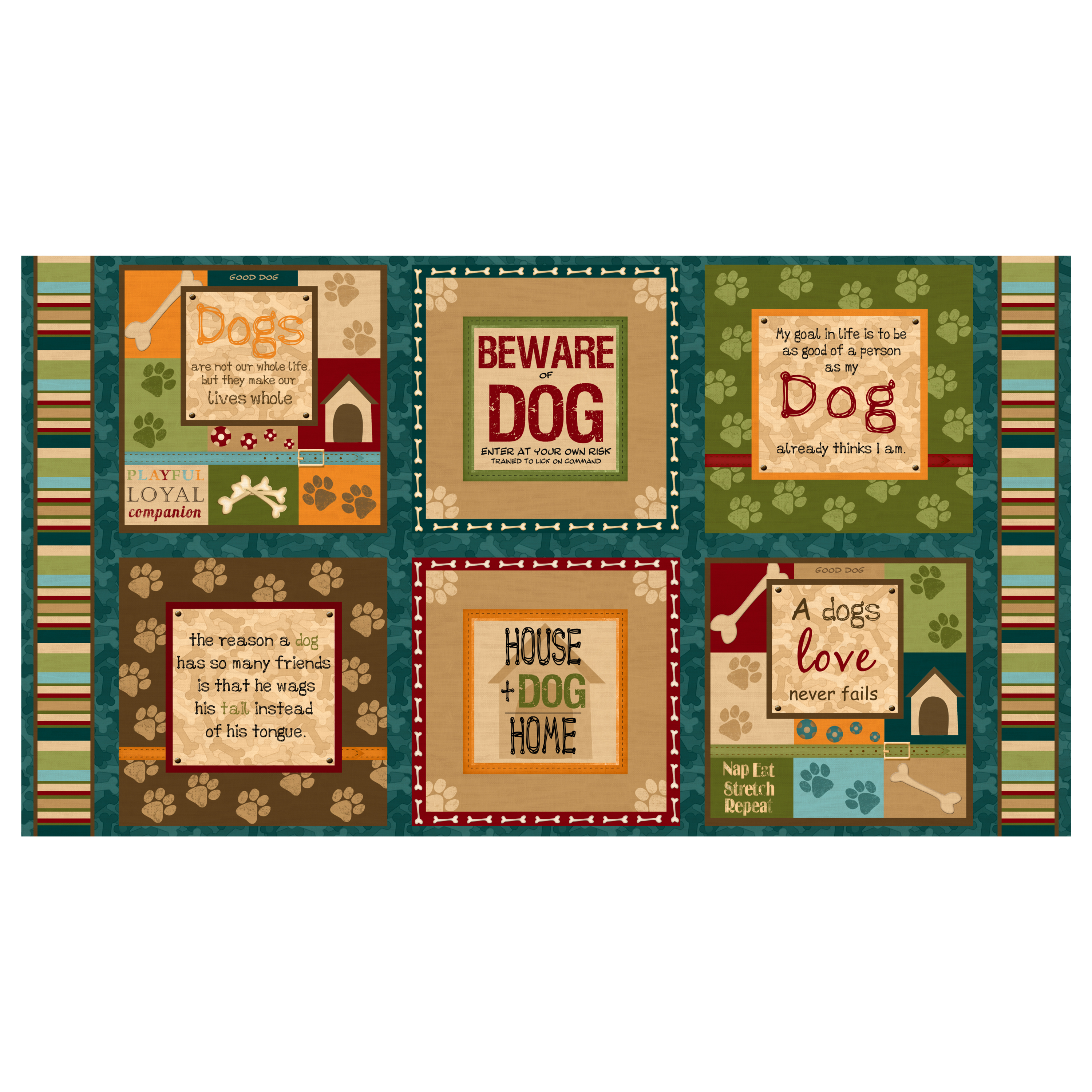 It's A Dog's Life 24 inch Panel Multi Fabric