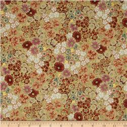 Kotori Metallic Packed Floral Antique/Gold Fabric