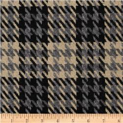 Wool Blend Coating Houndstooth Plaid Khaki/Grey