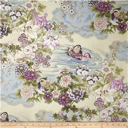 Kotori Metallic Vintage Asian Floral Orchid/Gold Fabric