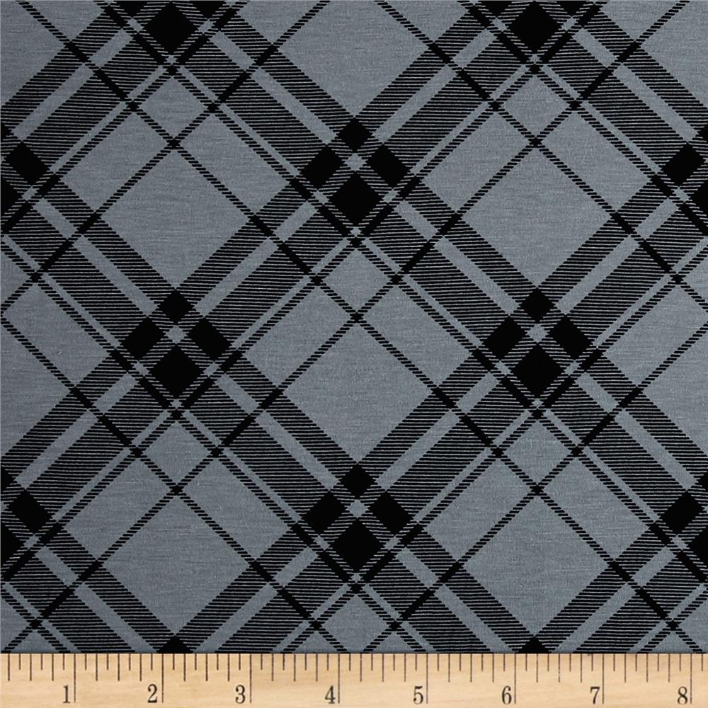 Printed Jersey Knit Black Plaid on Smokey Gray Fabric