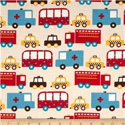 Ready Set Go Toy Trucks Bermuda Fabric