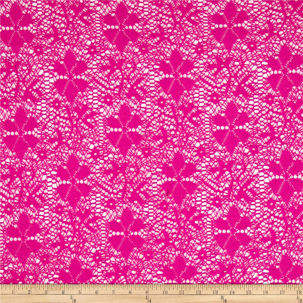 Crochet Stretch Lace Abstract Hot Pink Fabric