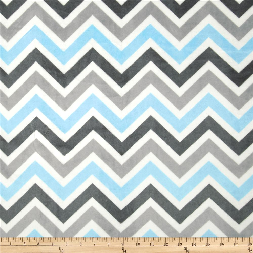 Minky Chevron Cuddle Baby Blue/Silver