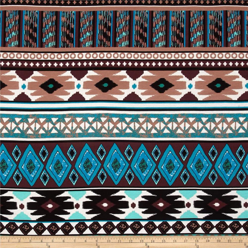 Cotton Lycra Jersey Knit Aztec Stripes Black/Tan/Turquoise