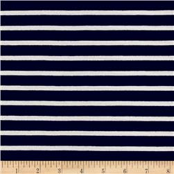 Rayon Jersey Knit Thin Stripe Navy/White
