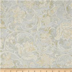 Timeless Treasures Patina Metallic Floral Scroll Mist