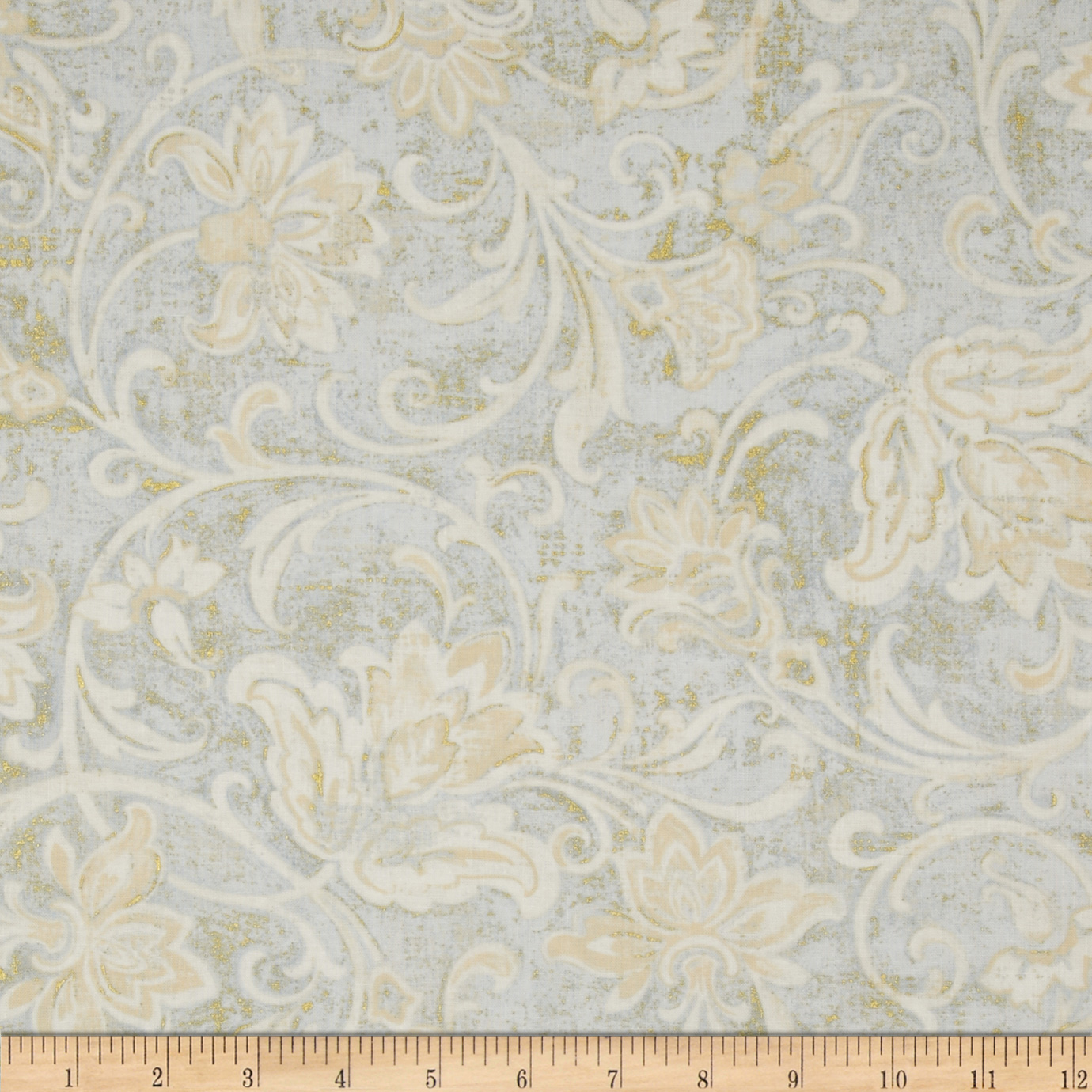 Timeless Treasures Patina Metallic Floral Scroll Mist Fabric