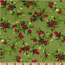 Moda Season's Greeting Holly Leaves Holly Leaves Green