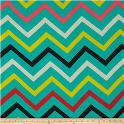 Chiffon Multi Stripe Chevron Aqua/Red/Yellow