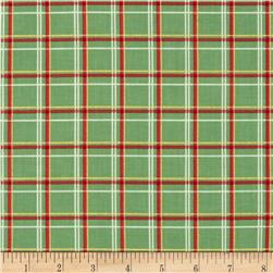 Holiday Magic Metallic Plaid Green Fabric