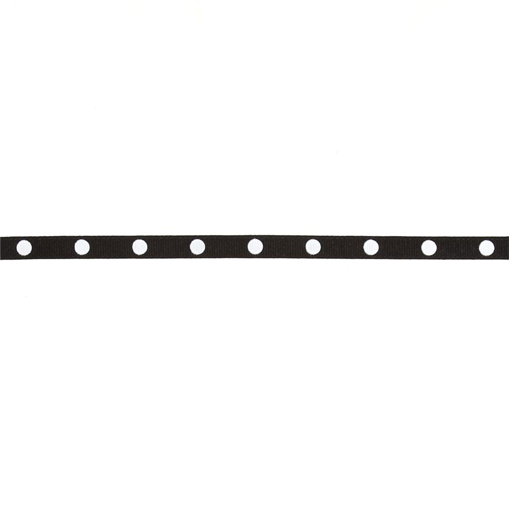 "3/8"" Grosgrain Dippity Dot Ribbon Black White"