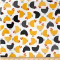 Urban Zoologie Slicker Laminated Cotton Chickens White