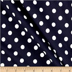 Liverpool Double Knit Polka Dot Navy/Off White